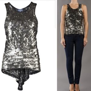 Gryphon New York sequin party tank silver